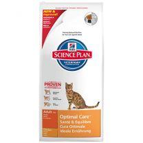 Hill's Adult Optimal Care Chicken Feline zak 10 kg  GAAT UIT ASSORTIEMENT!!