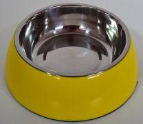 Hondendrink- / voerbak klein (16cm)-Geel